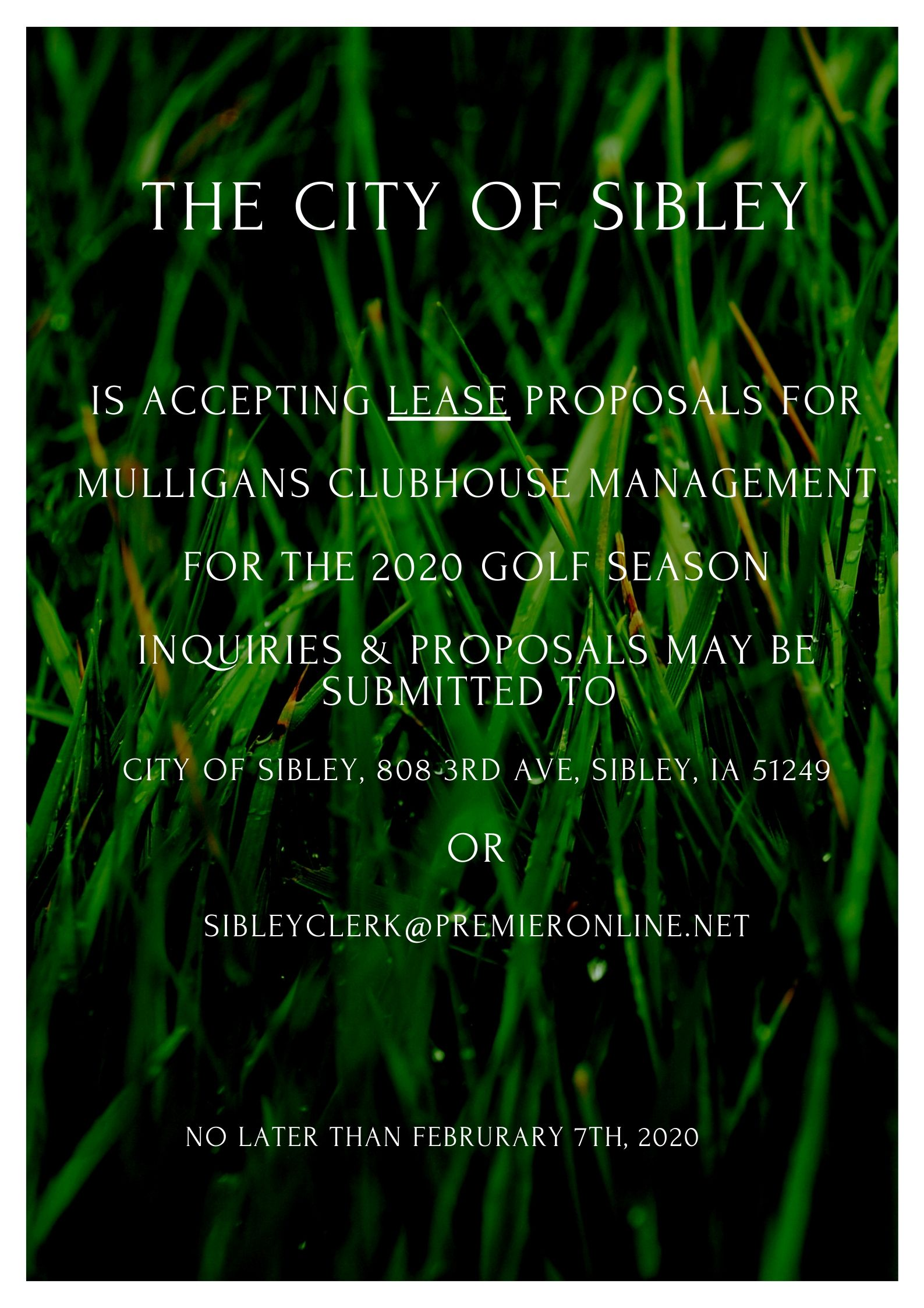 Lease proposals being accepted!