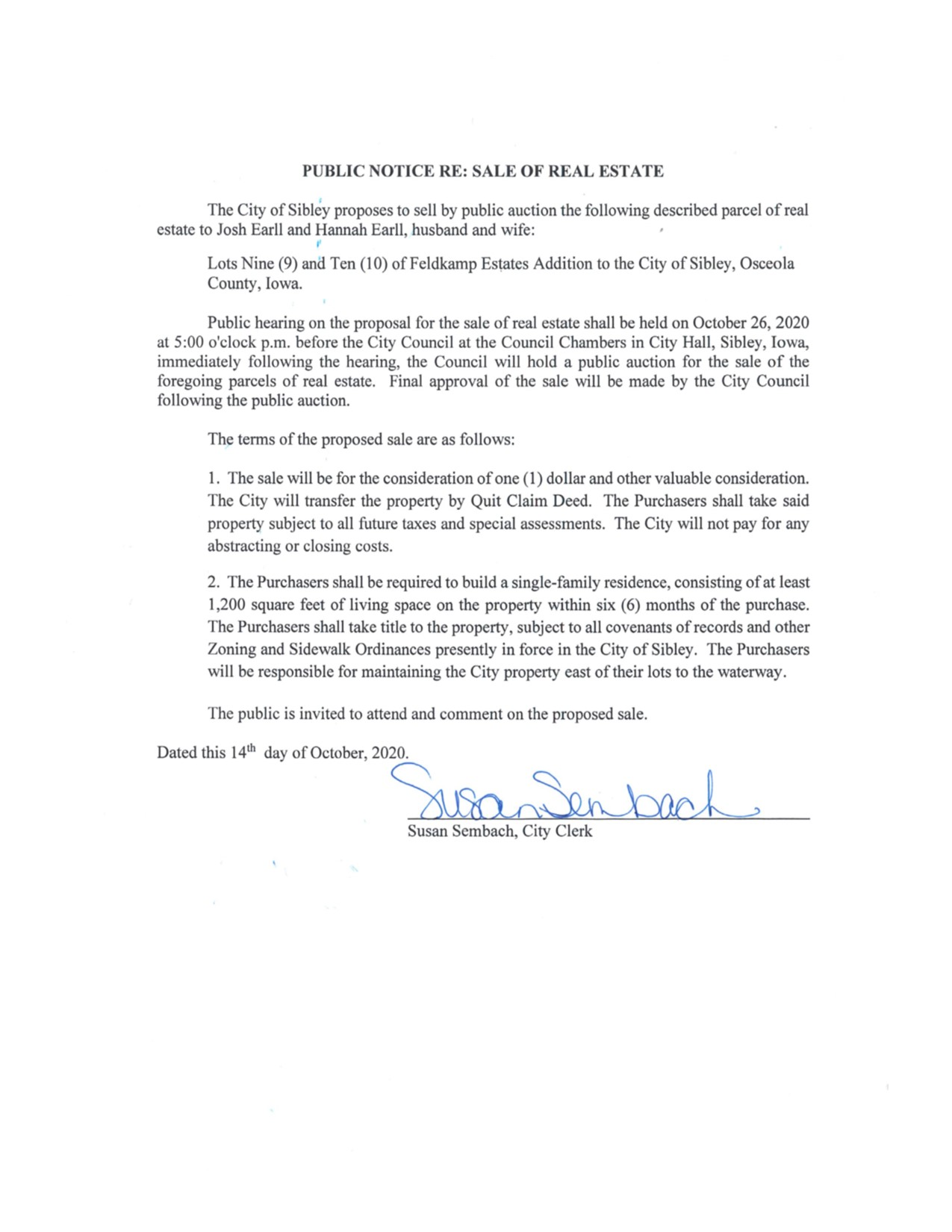 Public Hearing re: Sale of Lots (posted 10.14.2020)